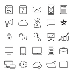 Set of thin line flat business icons vector