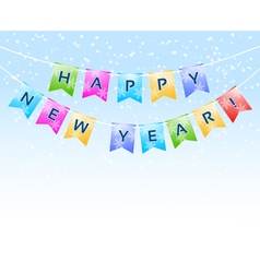 Bunting with happy new year words vector