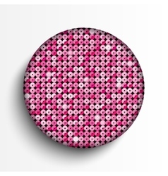 Pink sequin circle button eps 10 vector