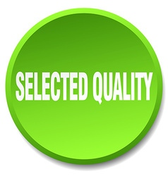 Selected quality green round flat isolated push vector