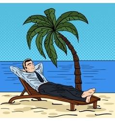 Businessman relaxing on the beach pop art vector