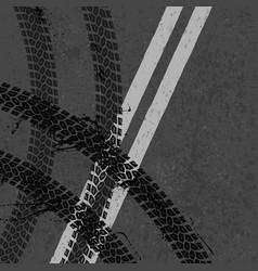 Asphalt road with tire tracks vector