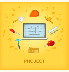 building process concept cellphone cartoon style vector image