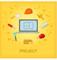 Building process concept cellphone cartoon style vector
