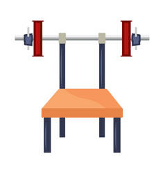 cartoon bench press with weights vector image vector image