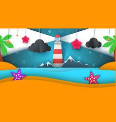 cartoon paper island beach palm star cloud vector image vector image