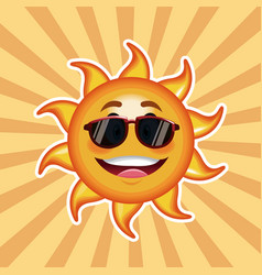 Character sun sunglasses happy with striped vector