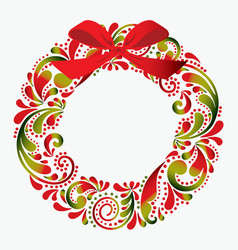 christmas wreath made from a flower pattern vector image