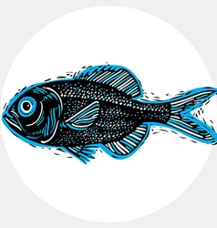 drawing of freshwater fish with fins underwater vector image