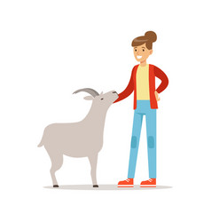 farmer woman caring for her goat farming and vector image