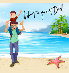 father and son on the beach vector image vector image