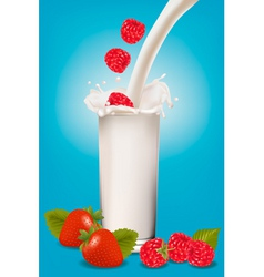 glass of milk and fruit vector image