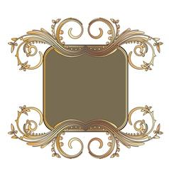 Gold floral frame vector
