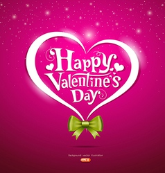 Happy Valentine Day lettering and green ribbons vector image vector image