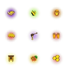 Honey icons set pop-art style vector