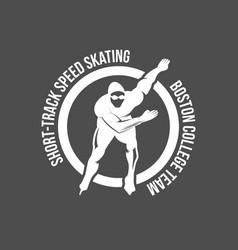 ice skating label logo set vector image vector image
