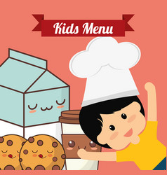 Kids menu chef child milk cookie vector