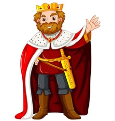King wearing red robe vector