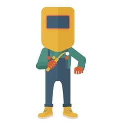 Man with welding mask vector