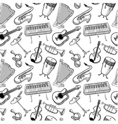 Musical instruments doodle rseamless pattern vector