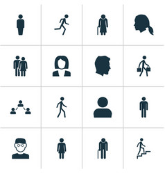 People icons set collection of female delivery vector