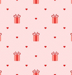 Pink seamless pattern with gifts and hearts vector image vector image