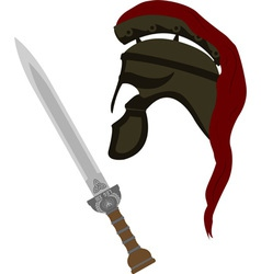 Roman helmet and sword vector