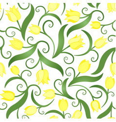 Seamless pattern with yellow tulips vector