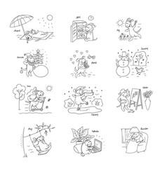 set sketch various funny stories from life vector image vector image