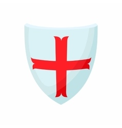 Shield with cross icon cartoon style vector