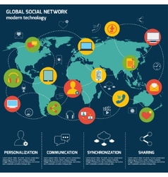 Social network infographics vector image