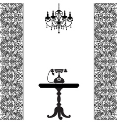 Telephone table and chandelier vector