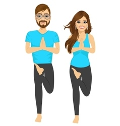 woman and man couple doing yoga pose vector image