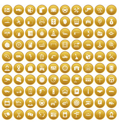 100 auto service center icons set gold vector