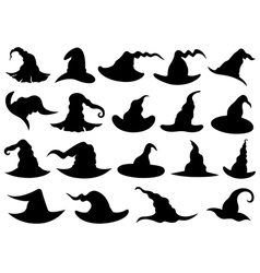 Set of different witch hats vector image
