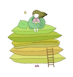 Little cute girl cushions and a ladder vector