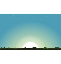 Silhouette of hill and moon landscape vector