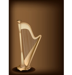 A beautiful harp on dark brown background vector