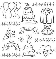 Collection of wedding style in doodles vector