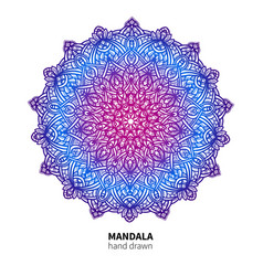 mandala flower drawing ethnic colorful vector image