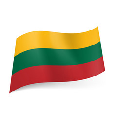National flag of lithuania yellow green and red vector