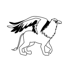 Griffin mythological magic winged beast design vector