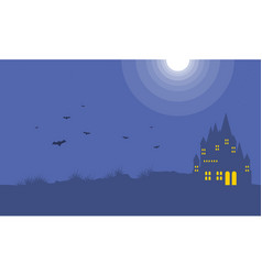 Background with dark castle halloween vector