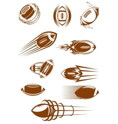 Brown rugby ball icons vector