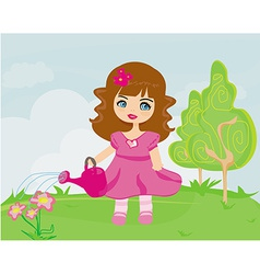 Cute girl with watering can in garden vector