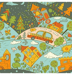 Seamless pattern with colored houses vector