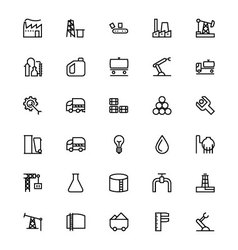 Industrial Processes Line Icons 1 vector image