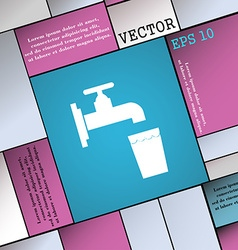 Faucet glass water icon sign modern flat style for vector