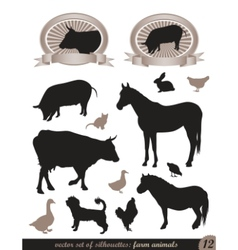 12 silhouettes of animals vector