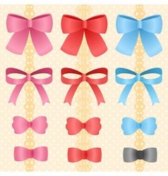 Cute silky or satin ribbon or bow for decorate on vector